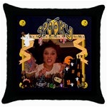 Spooky Halloween cushion funky - Throw Pillow Case (Black)