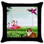 Flamingoes Throw Pillow - Throw Pillow Case (Black)