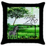 Zebra Throw Pillow - Throw Pillow Case (Black)