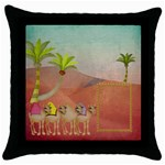 Camels Throw Pillow - Throw Pillow Case (Black)
