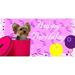 Pink Yorkie Birthday Card - Happy Birthday 3D Greeting Card (8x4)