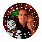 Snowman Filigree Round Ornament - Ornament (Round Filigree)