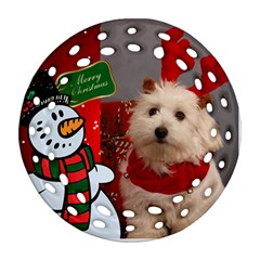 Snowman Filigree Round Ornament (2 Sided) By Deborah   Round Filigree Ornament (two Sides)   L798zfvl47ks   Www Artscow Com Front