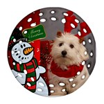 Snowman Filigree Round Ornament (2 sided) - Round Filigree Ornament (Two Sides)