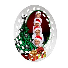 Christmas Filigree Ornament (2 Sided) By Deborah   Oval Filigree Ornament (two Sides)   Z1pqln5bbnqs   Www Artscow Com Front