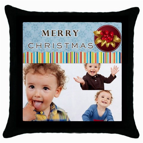 Xmas By Jo Jo   Throw Pillow Case (black)   5tqpu3r92khf   Www Artscow Com Front