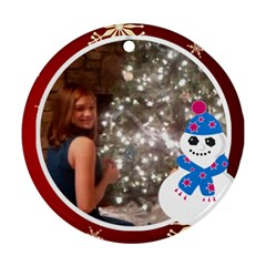 Snowman And White Frame Round Ornament (2 Sides) By Kim Blair   Round Ornament (two Sides)   7zkvwzi488u3   Www Artscow Com Front