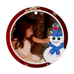 Snowman And White Frame Round Ornament (2 Sides) By Kim Blair   Round Ornament (two Sides)   7zkvwzi488u3   Www Artscow Com Back