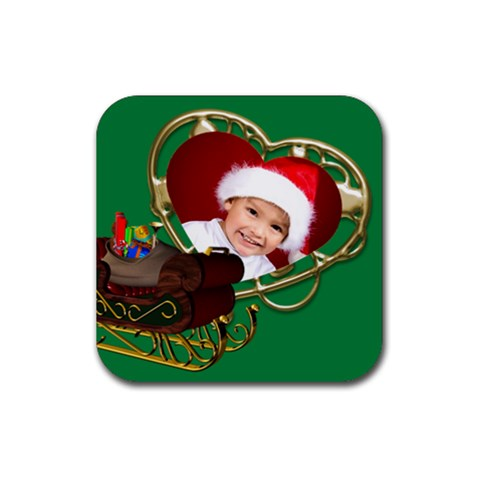 Christmas Sled Coaster By Deborah   Rubber Coaster (square)   O9d6o41w6b5c   Www Artscow Com Front