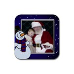 Snowman Christmas coaster - Rubber Coaster (Square)