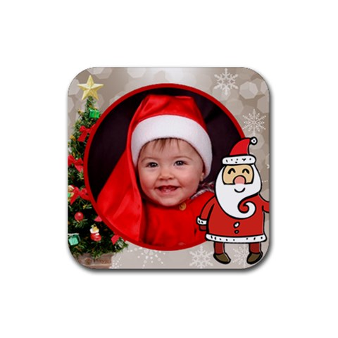First Christmas Coaster By Deborah   Rubber Coaster (square)   X7nltzhsupkh   Www Artscow Com Front
