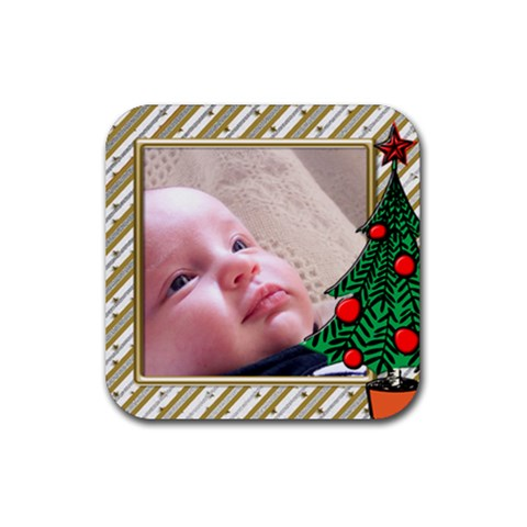 Little Christmas Coaster By Deborah   Rubber Coaster (square)   C3pk7gd8lat0   Www Artscow Com Front