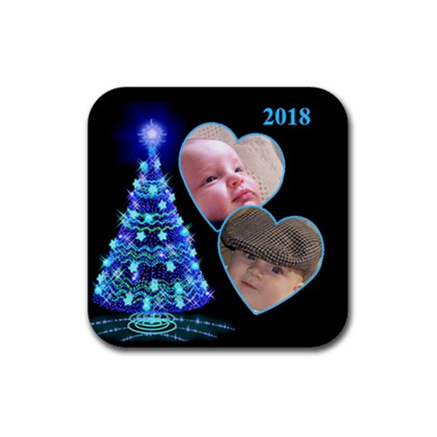 Blue Tree Christmas Square Coaster By Deborah   Rubber Coaster (square)   9m12o8rmex4i   Www Artscow Com Front
