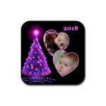 Pink Christmas Tree Square Coaster - Rubber Coaster (Square)
