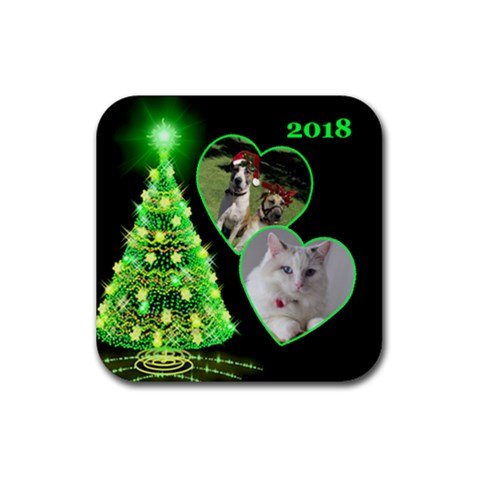 Green Christmas Tree Square Coaster By Deborah   Rubber Coaster (square)   Ap6iq1eo9d7f   Www Artscow Com Front