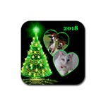 Green Christmas Tree Square Coaster - Rubber Coaster (Square)