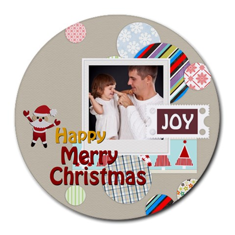 Xmas By Jo Jo   Collage Round Mousepad   3ymd2e5sljdr   Www Artscow Com 8 x8  Round Mousepad - 1