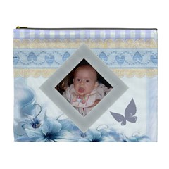 Blue Gingham And Heart Trim Cosmetic Bag (xl) 2 Sides By Kim Blair   Cosmetic Bag (xl)   Jgdgzuy6bro9   Www Artscow Com Front