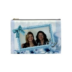 Blue Floral Corner Cosmetic Bag Medium By Kim Blair   Cosmetic Bag (medium)   Vxokv442q4ho   Www Artscow Com Front