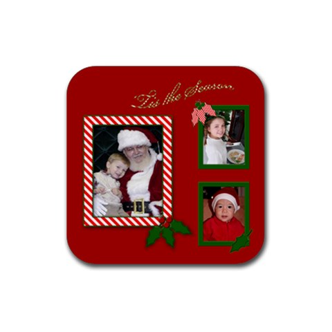 Red Christmas Coaster By Deborah   Rubber Coaster (square)   Ja2pvh4l4yxf   Www Artscow Com Front