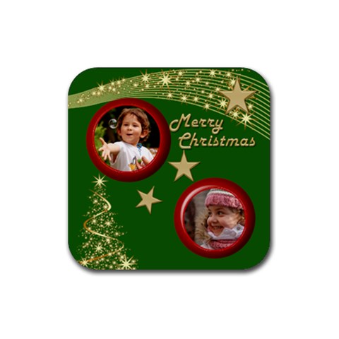 Green Christmas Coaster By Deborah   Rubber Coaster (square)   Xilqcwmmg0z8   Www Artscow Com Front
