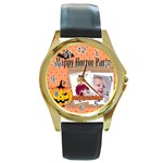 halloween - Round Gold Metal Watch