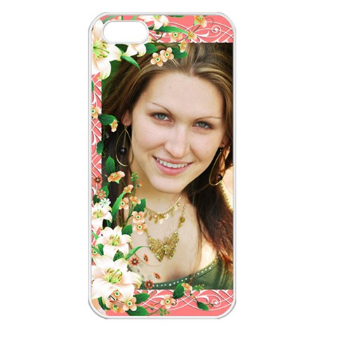 Floral Apricot Apple Iphone 5 Seamless Case (white) By Deborah   Apple Iphone 5 Seamless Case (white)   Dv6sdcjaskwa   Www Artscow Com Front