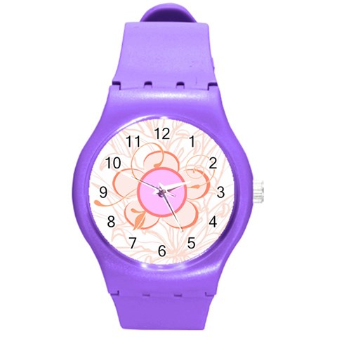 Flower Watch By Birkie   Round Plastic Sport Watch (m)   0c39e9in64ko   Www Artscow Com Front