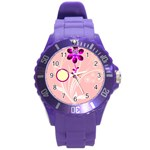 purple flower watch - Round Plastic Sport Watch Large