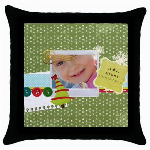 Xmas By Jo Jo   Throw Pillow Case (black)   Ec7hxtwvuky6   Www Artscow Com Front