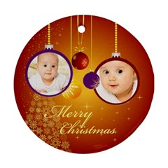 Xmas By Wood Johnson   Round Ornament (two Sides)   7g34c7ki2mkv   Www Artscow Com Front