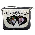 Black and white double heart Messenger Bag