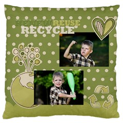 Green Kids By Angena Jolin   Large Cushion Case (two Sides)   3q2rek0wleyy   Www Artscow Com Back