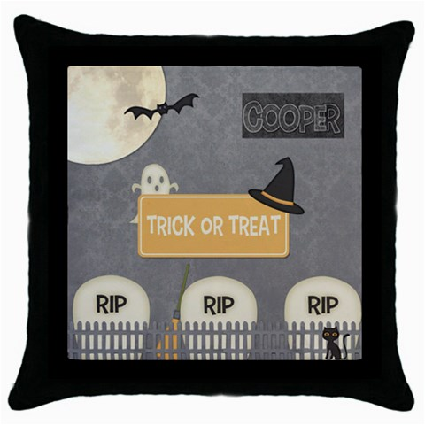 Trick Or Treat Bag Boy By Melinda Bow   Throw Pillow Case (black)   Ggattncgjc1o   Www Artscow Com Front