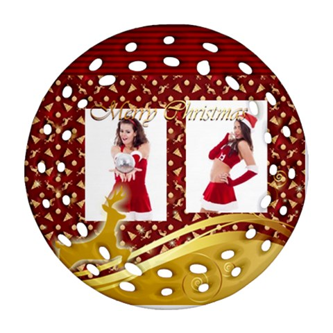 Christmas By Clince   Ornament (round Filigree)   R4bpdnv8gznf   Www Artscow Com Front