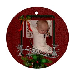 Red Christmas Round Ornament (2 Sides) By Lil    Round Ornament (two Sides)   P5yxrt58931e   Www Artscow Com Front
