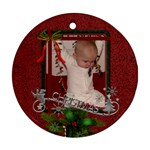 Red Christmas Round Ornament (2 Sides) - Round Ornament (Two Sides)