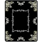 Black Floral Med Blanket - Fleece Blanket (Medium)