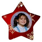 Red snowflake Star Ornament - Star Ornament (Two Sides)