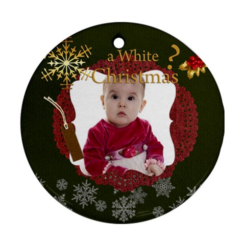 Xmas By Debe Lee   Ornament (round)   Qk3jlegf700e   Www Artscow Com Front