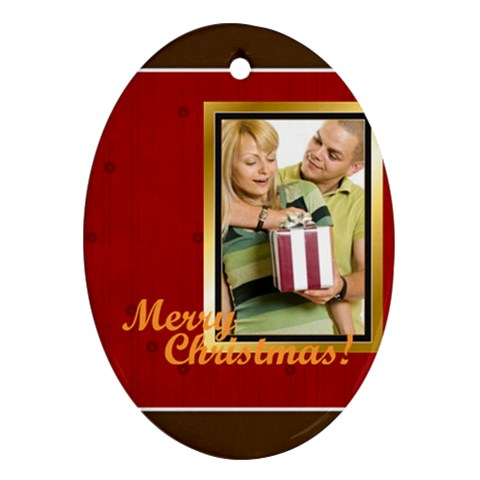 Merry Christmas, Happy New Year By May   Ornament (oval)   Apu69eoa0y17   Www Artscow Com Front