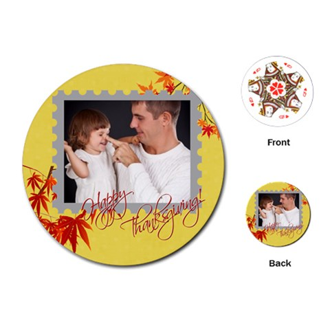 Thanks Giving By Jo Jo   Playing Cards (round)   Pizn4xwcrse4   Www Artscow Com Front