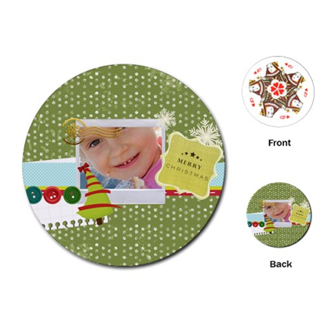 Xmas By Jo Jo   Playing Cards (round)   Pf6tl82iqoq7   Www Artscow Com Front