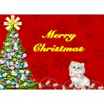 Christmas tree and Kitten Circle 3D Card - Circle 3D Greeting Card (7x5)