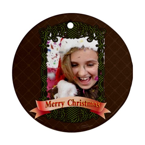 Christmas By M Jan   Ornament (round)   Ckdyrlo2edg4   Www Artscow Com Front