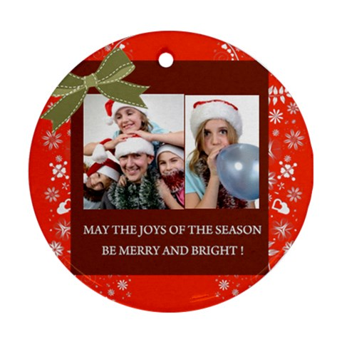 Christmas By M Jan   Ornament (round)   Gfrowkx9n359   Www Artscow Com Front
