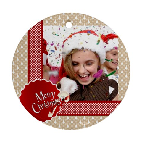 Christmas By M Jan   Ornament (round)   Q99jzyo9r80q   Www Artscow Com Front