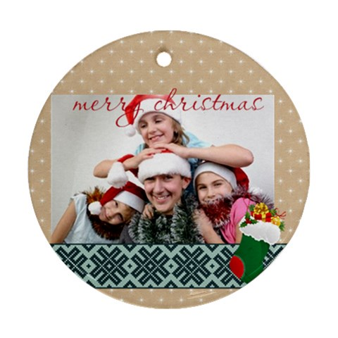 Christmas By M Jan   Ornament (round)   9bfx17pk818c   Www Artscow Com Front