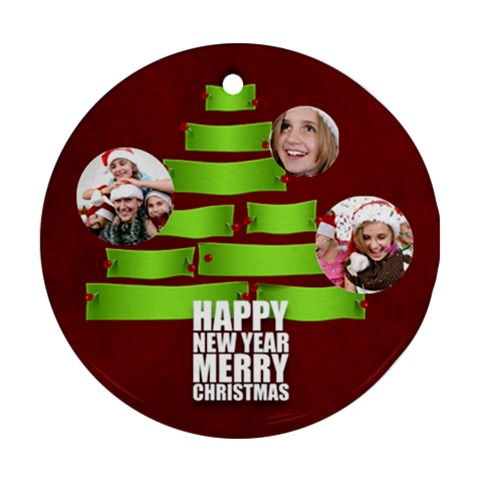 Christmas By M Jan   Ornament (round)   Frdiyw5q7v08   Www Artscow Com Front