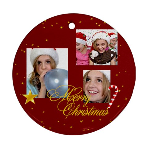 Christmas By M Jan   Ornament (round)   Urtnvv2u9fxg   Www Artscow Com Front